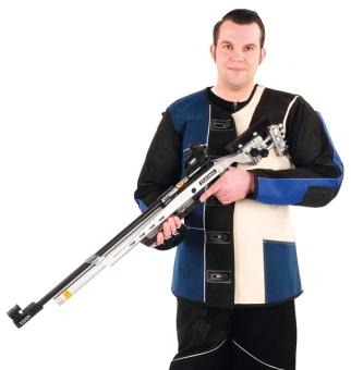 ahg-Schießjacke Standard in Velourleder-Leinen-Kombination f. Linksschützen
